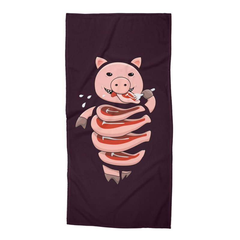 Funny Stupid Hungry Pig Accessories Beach Towel by Boriana's Artist Shop