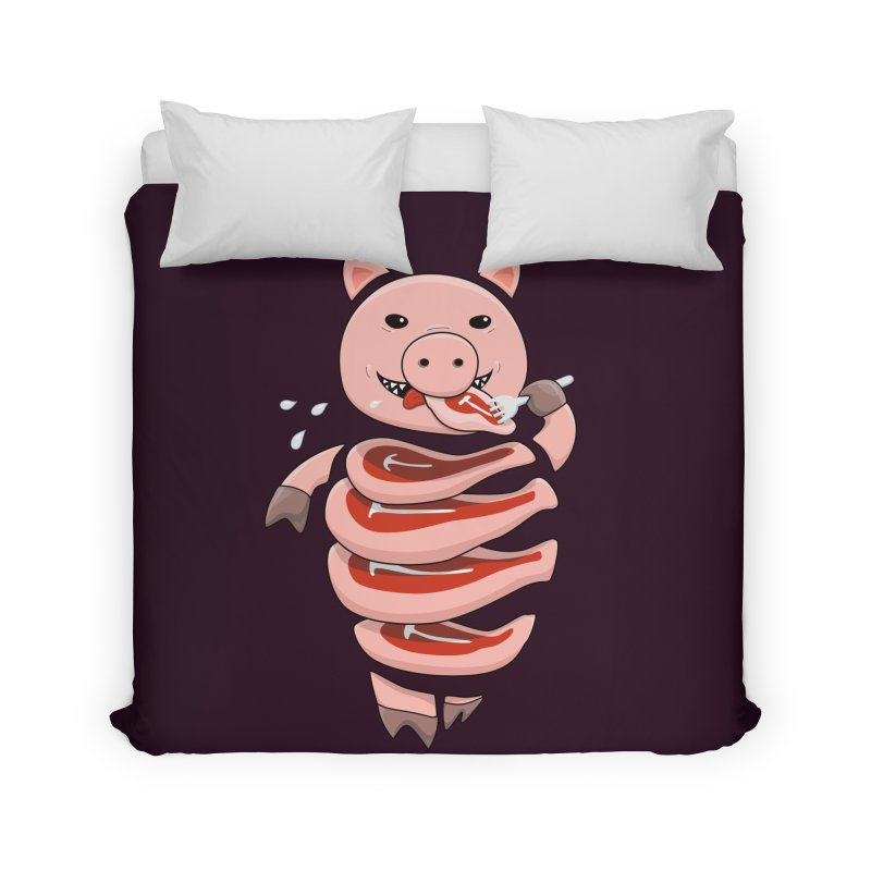 Funny Stupid Hungry Pig Home Duvet by Boriana's Artist Shop