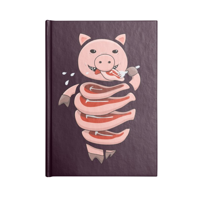 Funny Stupid Hungry Pig Accessories Lined Journal Notebook by Boriana's Artist Shop
