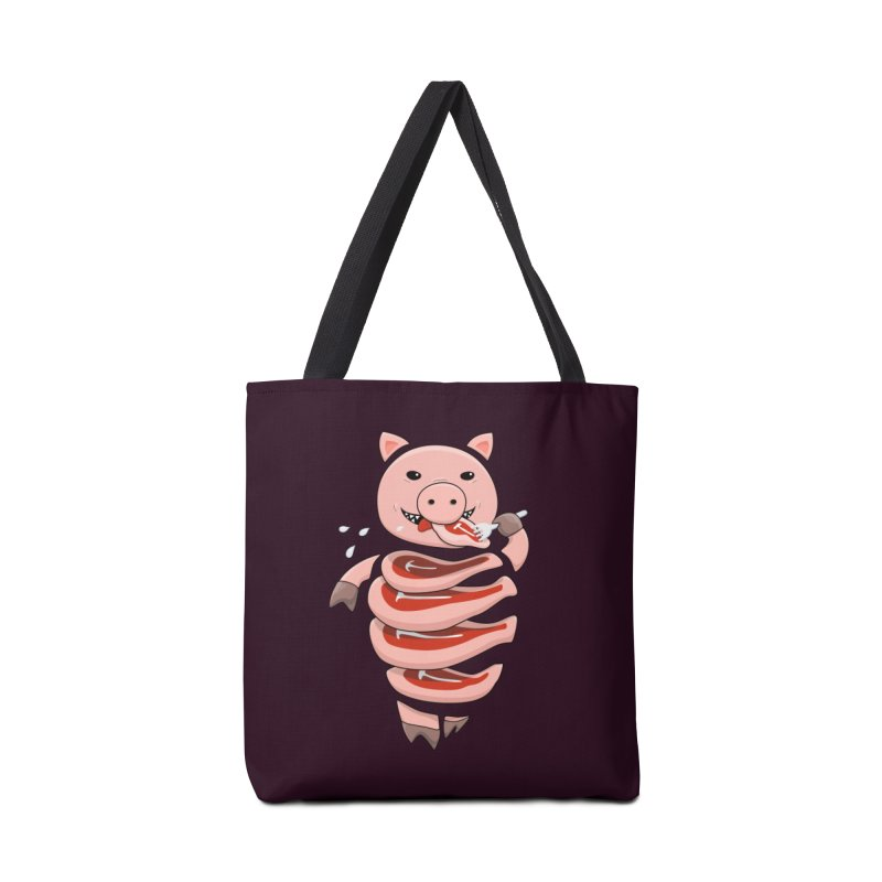 Funny Stupid Hungry Pig Accessories Tote Bag Bag by Boriana's Artist Shop