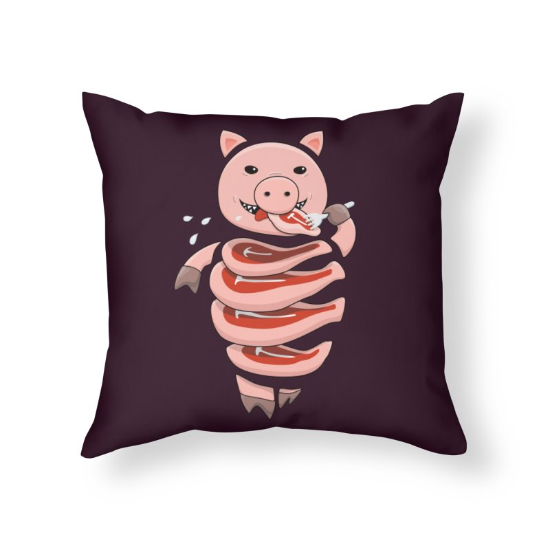 Funny Stupid Hungry Pig Home Throw Pillow by Boriana's Artist Shop