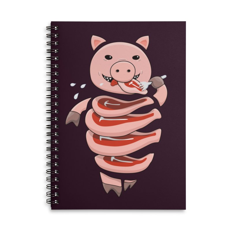 Funny Stupid Hungry Pig Accessories Lined Spiral Notebook by Boriana's Artist Shop