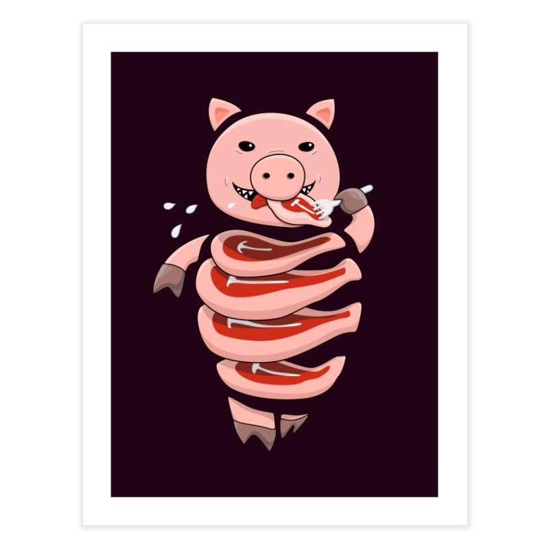 Funny Stupid Hungry Pig Home Fine Art Print by Boriana's Artist Shop