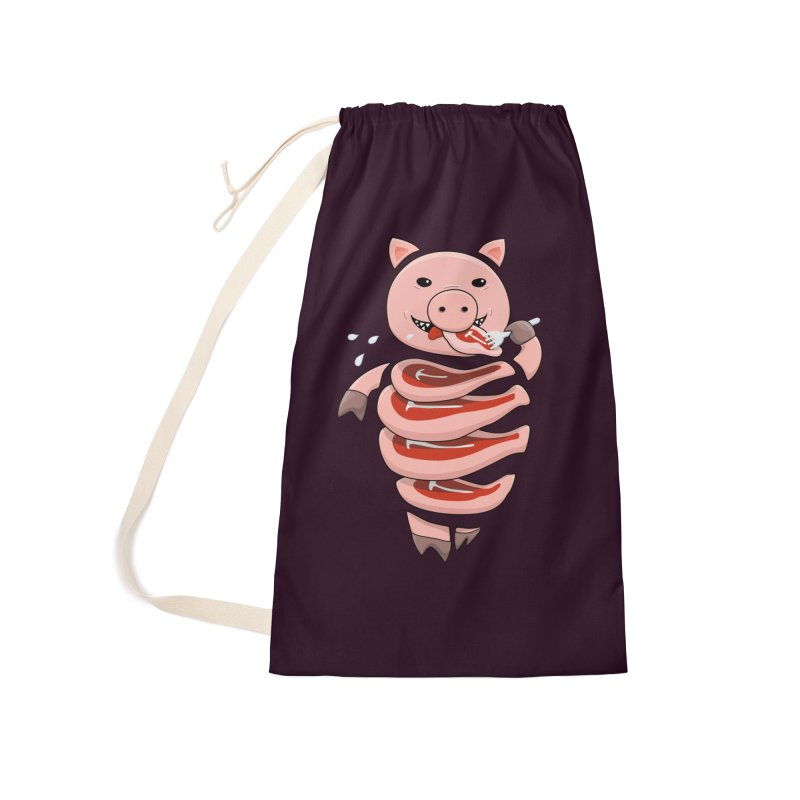 Funny Stupid Hungry Pig Accessories Laundry Bag Bag by Boriana's Artist Shop