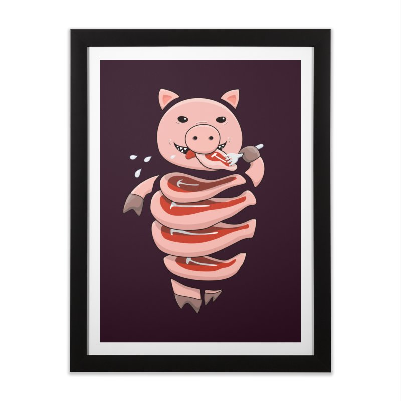 Funny Stupid Hungry Pig Home Framed Fine Art Print by Boriana's Artist Shop