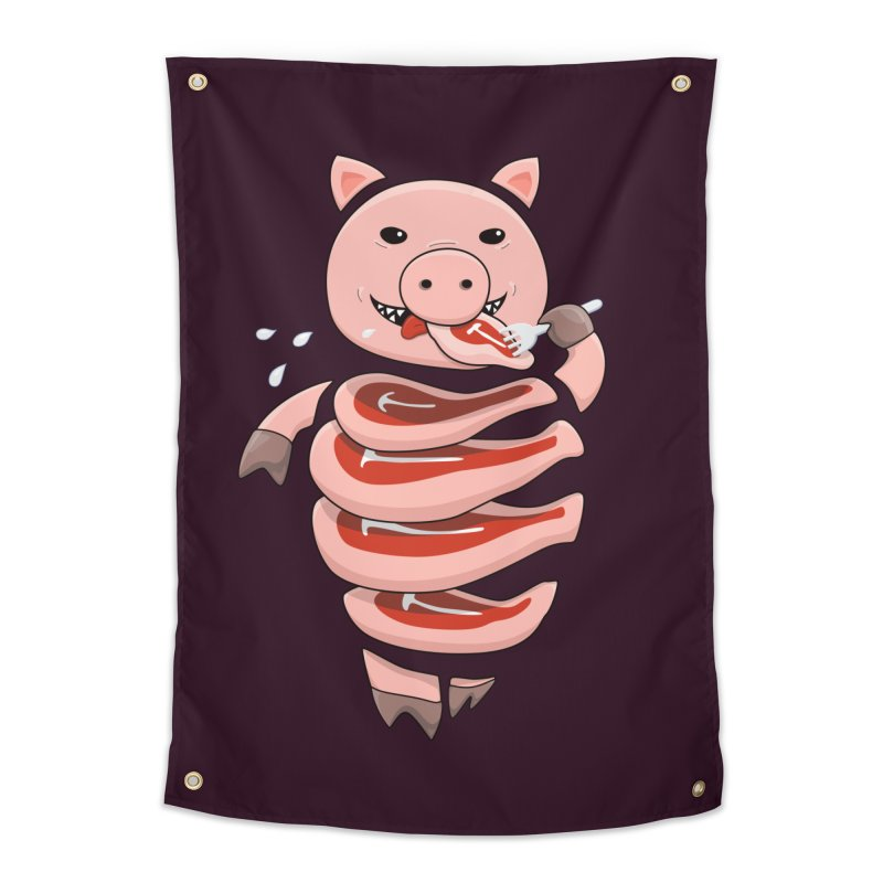 Funny Stupid Hungry Pig Home Tapestry by Boriana's Artist Shop