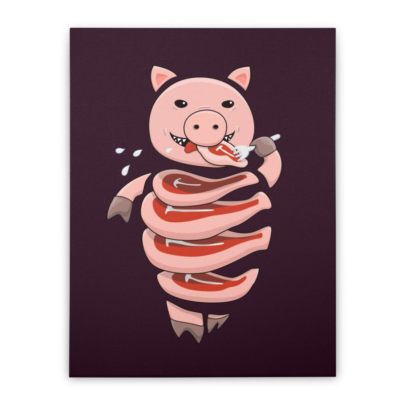 Funny Stupid Hungry Pig Home Stretched Canvas by Boriana's Artist Shop