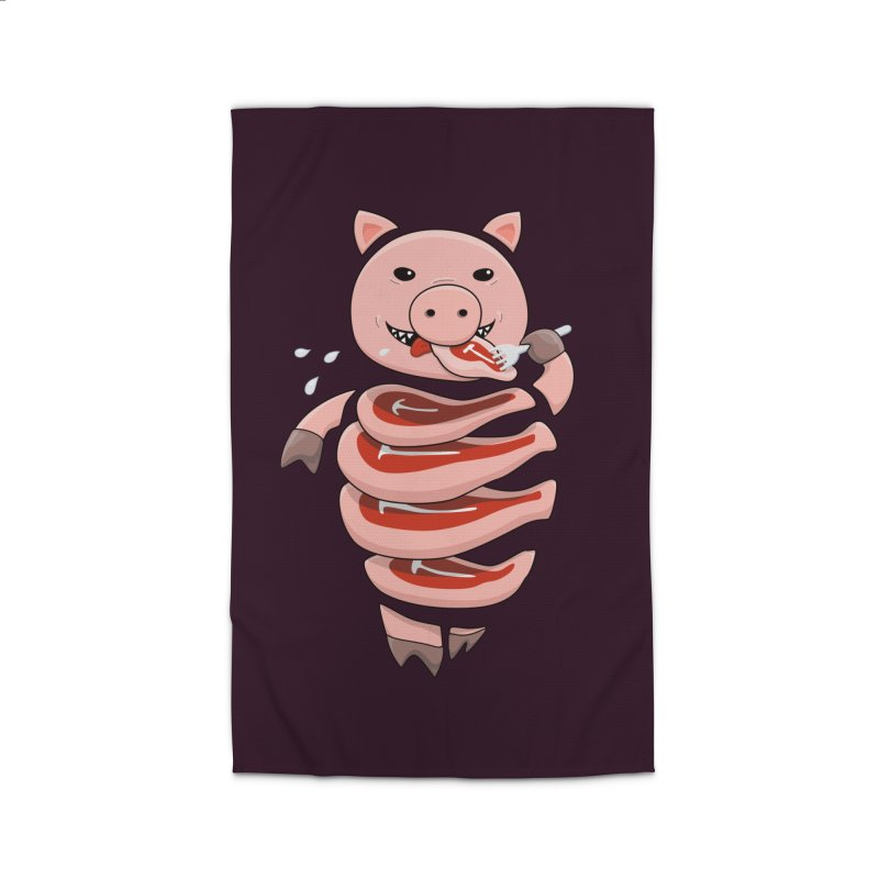 Funny Stupid Hungry Pig Home Rug by Boriana's Artist Shop