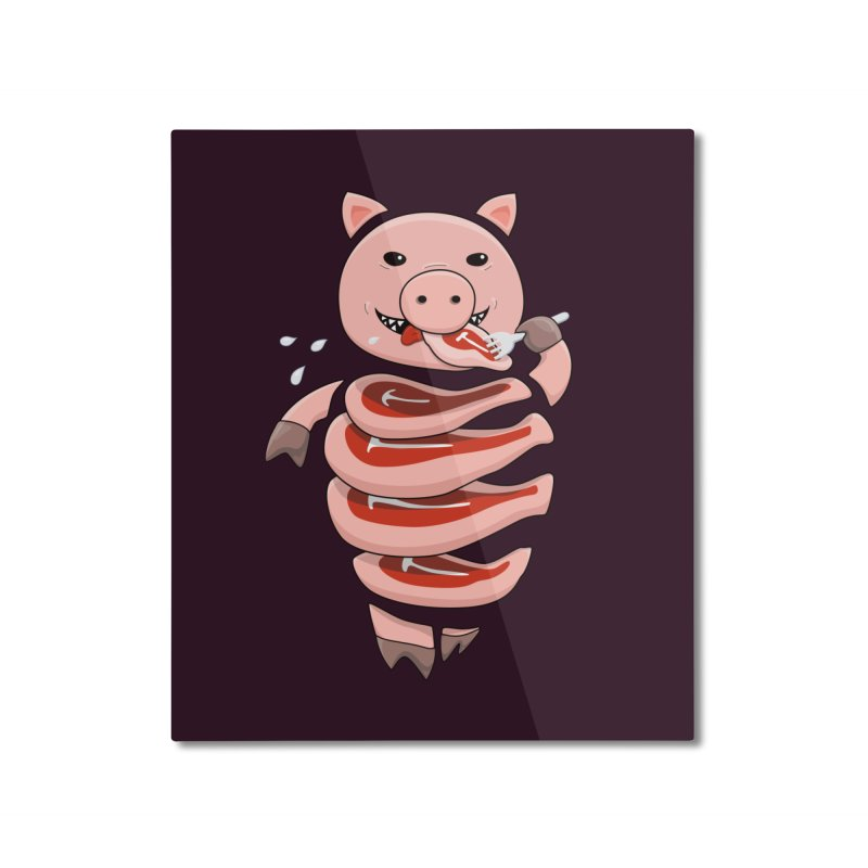 Funny Stupid Hungry Pig Home Mounted Aluminum Print by Boriana's Artist Shop