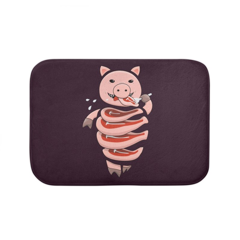 Funny Stupid Hungry Pig Home Bath Mat by Boriana's Artist Shop