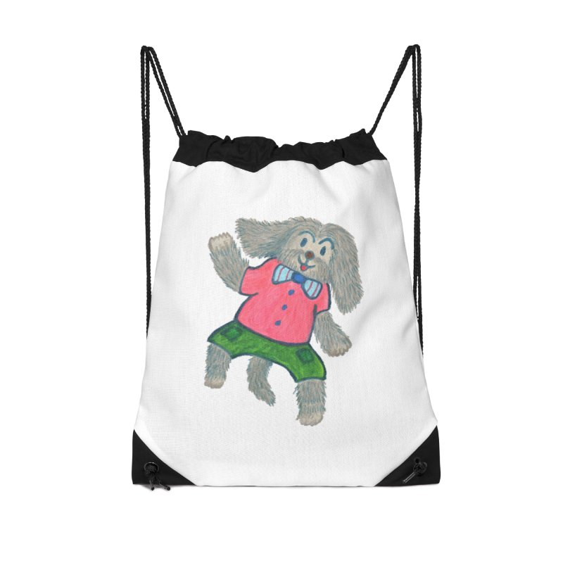 A happy dog. Accessories Drawstring Bag Bag by Boris Lee Illustration