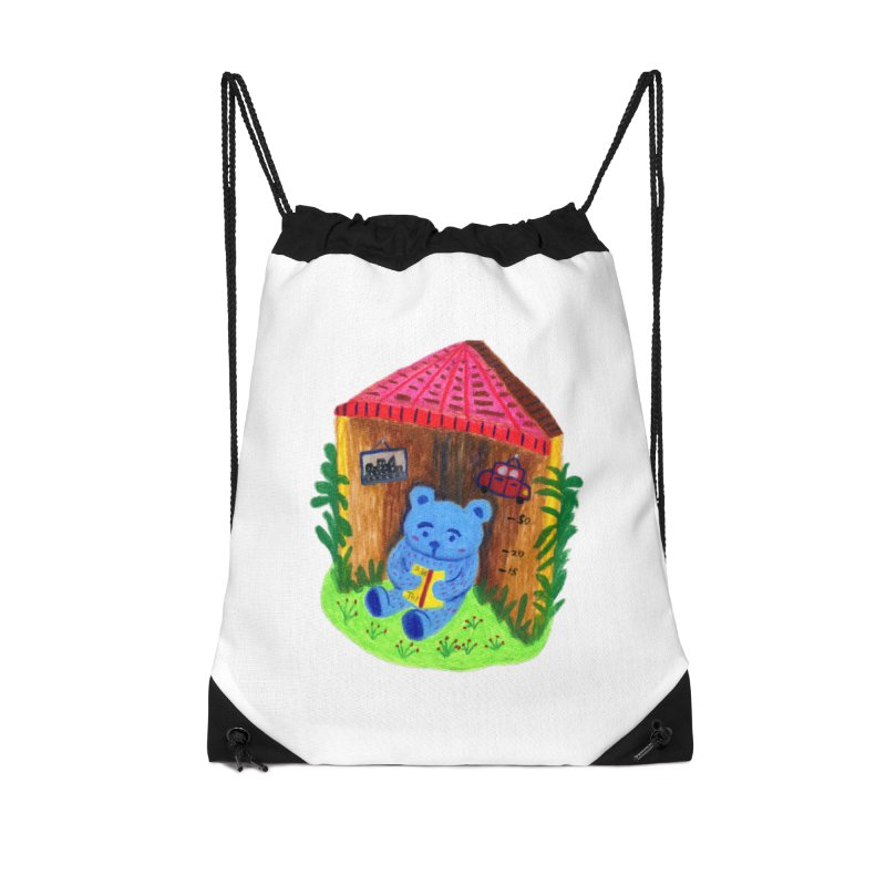 A bear's corner. Accessories Drawstring Bag Bag by Boris Lee Illustration