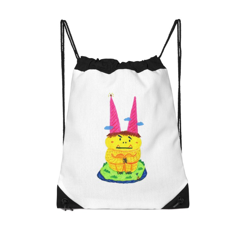 On the horn. Accessories Drawstring Bag Bag by Boris Lee Illustration