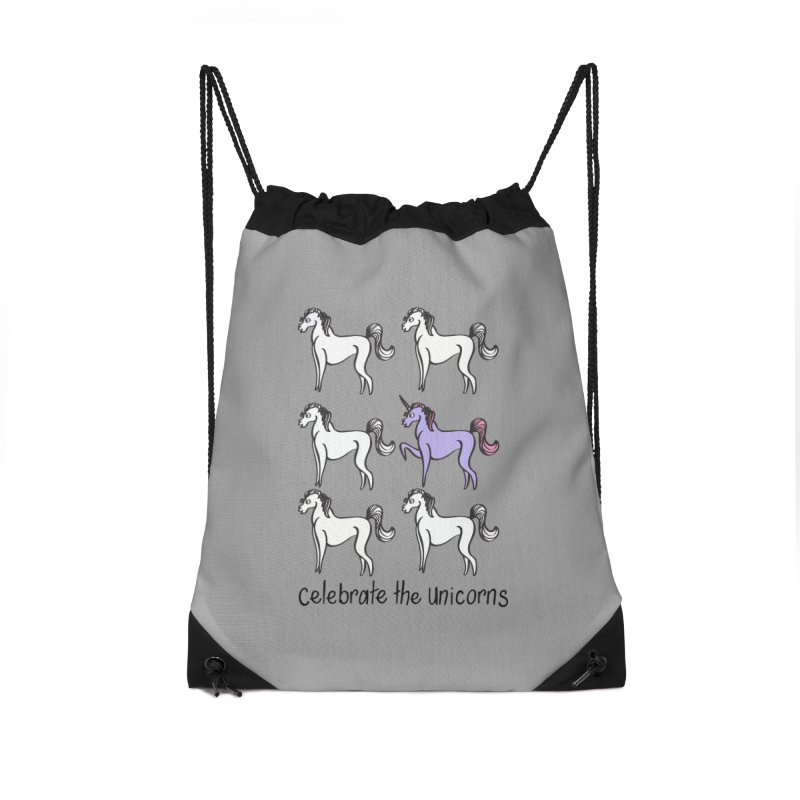 Celebrate the Unicorns Accessories Drawstring Bag Bag by bornjustright's Artist Shop