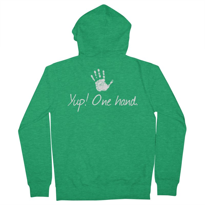 Yup! One hand. White lettering Women's Zip-Up Hoody by bornjustright's Artist Shop