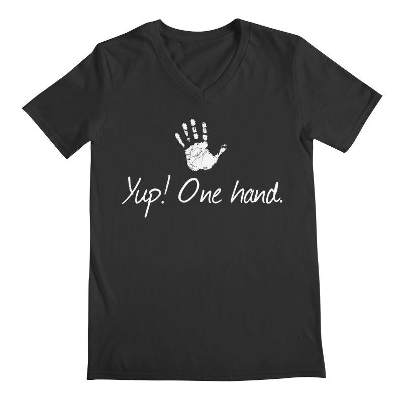 Yup! One hand. White lettering Men's Regular V-Neck by bornjustright's Artist Shop