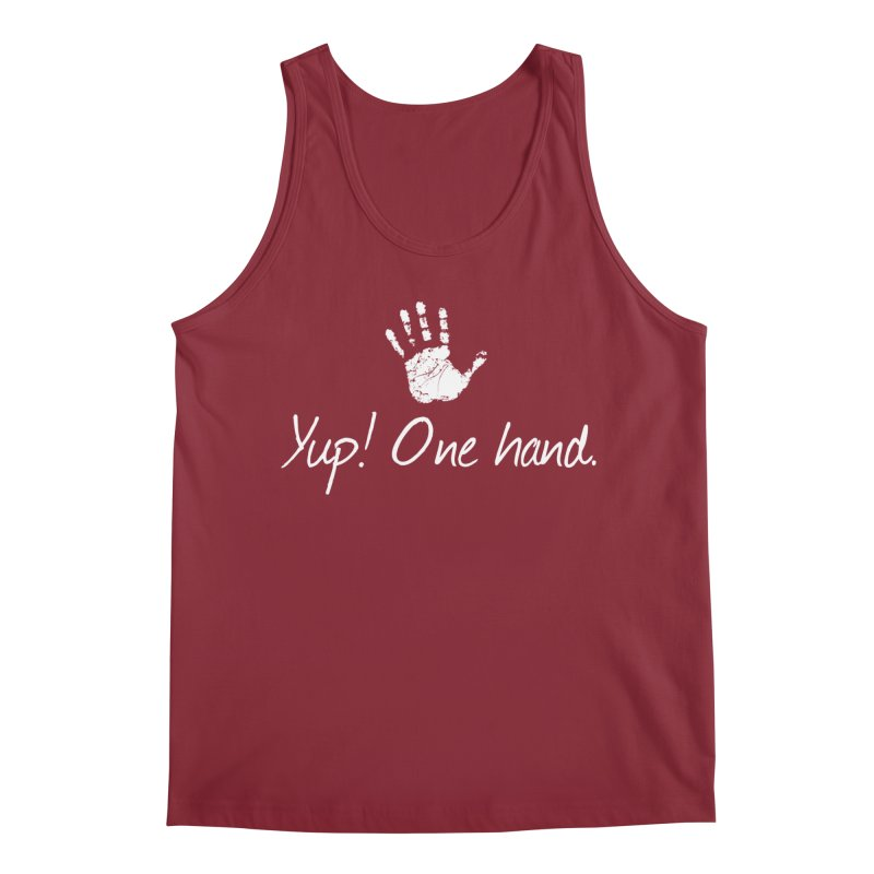 Yup! One hand. White lettering Men's Regular Tank by bornjustright's Artist Shop