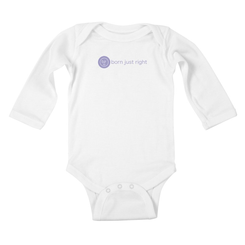 BJR Logo with text Kids Baby Longsleeve Bodysuit by bornjustright's Artist Shop