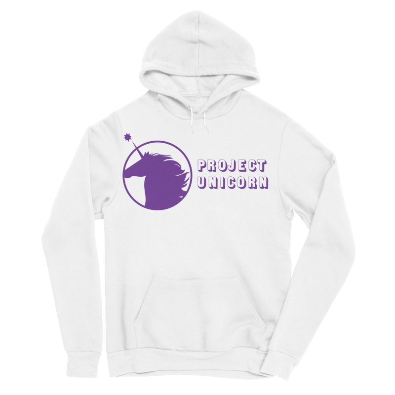 Project Unicorn Logo with text in Men's Sponge Fleece Pullover Hoody White by bornjustright's Artist Shop