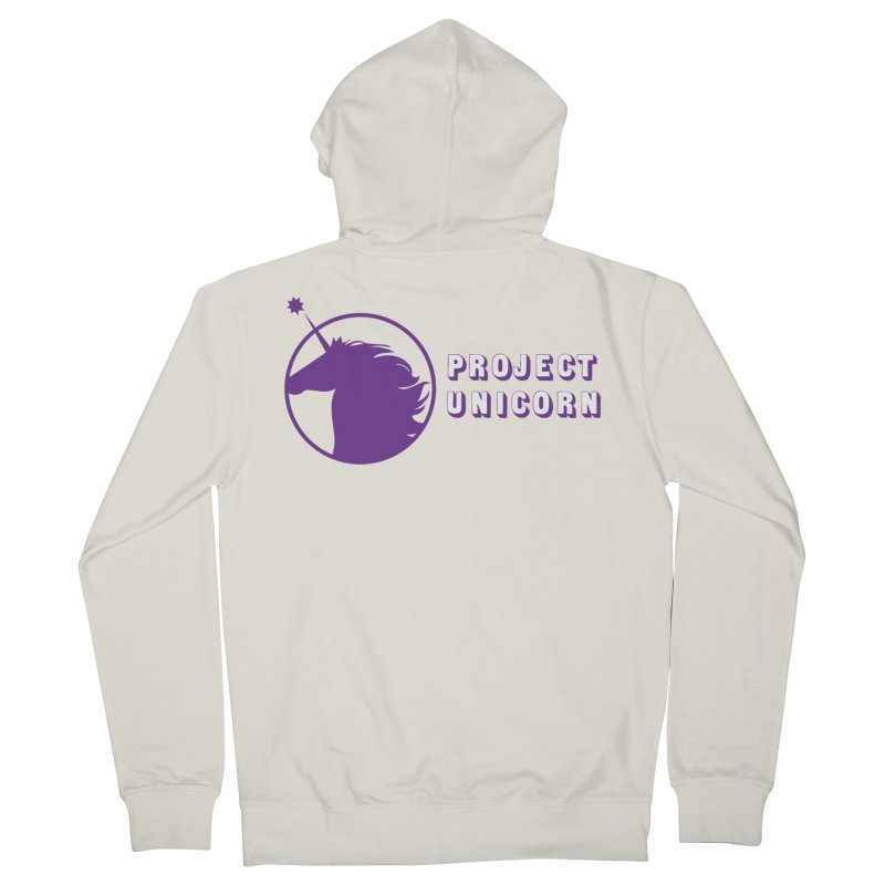Project Unicorn Logo with text Women's French Terry Zip-Up Hoody by bornjustright's Artist Shop