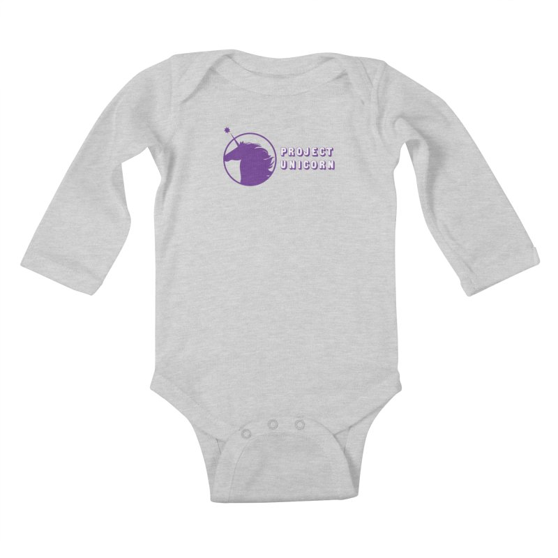 Project Unicorn Logo with text Kids Baby Longsleeve Bodysuit by bornjustright's Artist Shop