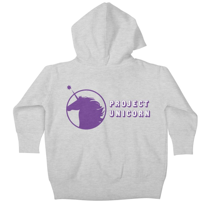 Project Unicorn Logo with text Kids Baby Zip-Up Hoody by bornjustright's Artist Shop