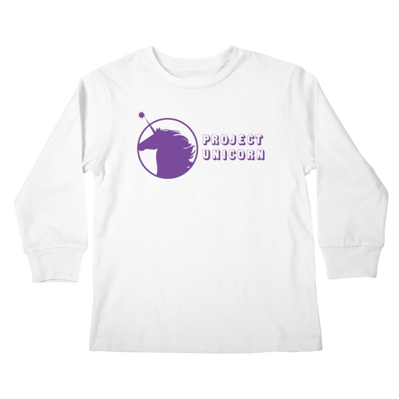 Project Unicorn Logo with text Kids Longsleeve T-Shirt by bornjustright's Artist Shop