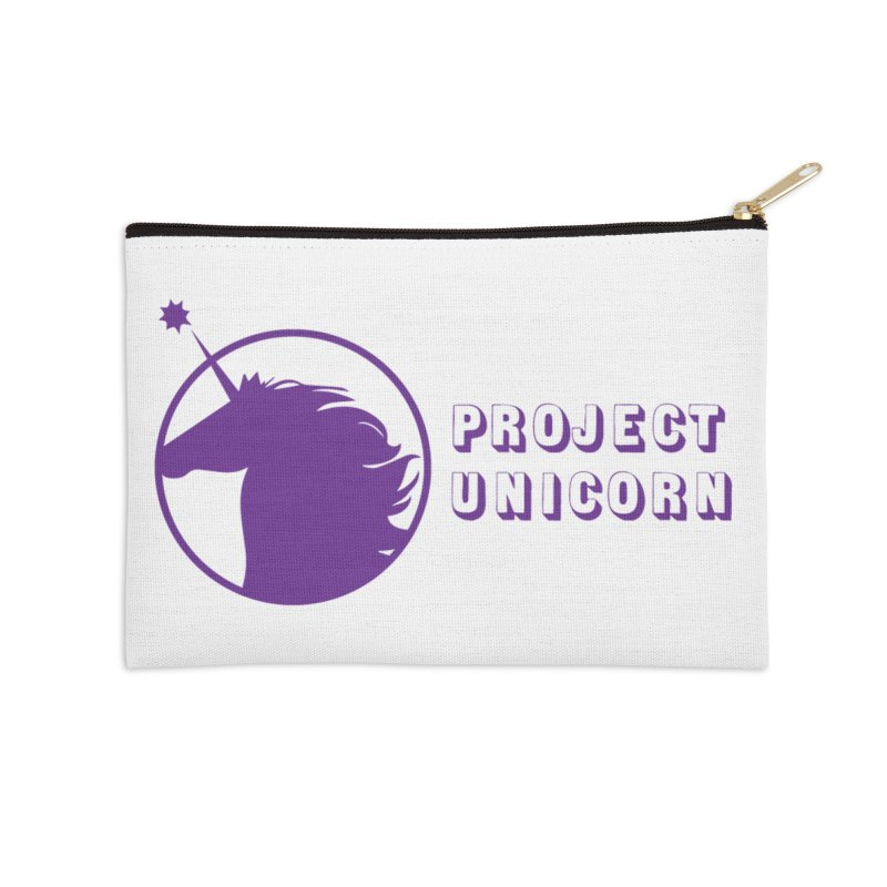 Project Unicorn Logo with text Accessories Zip Pouch by bornjustright's Artist Shop