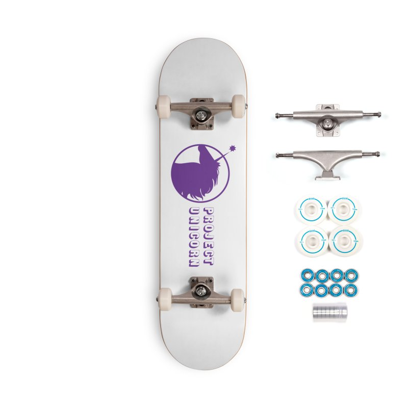 Project Unicorn Logo with text Accessories Skateboard by bornjustright's Artist Shop