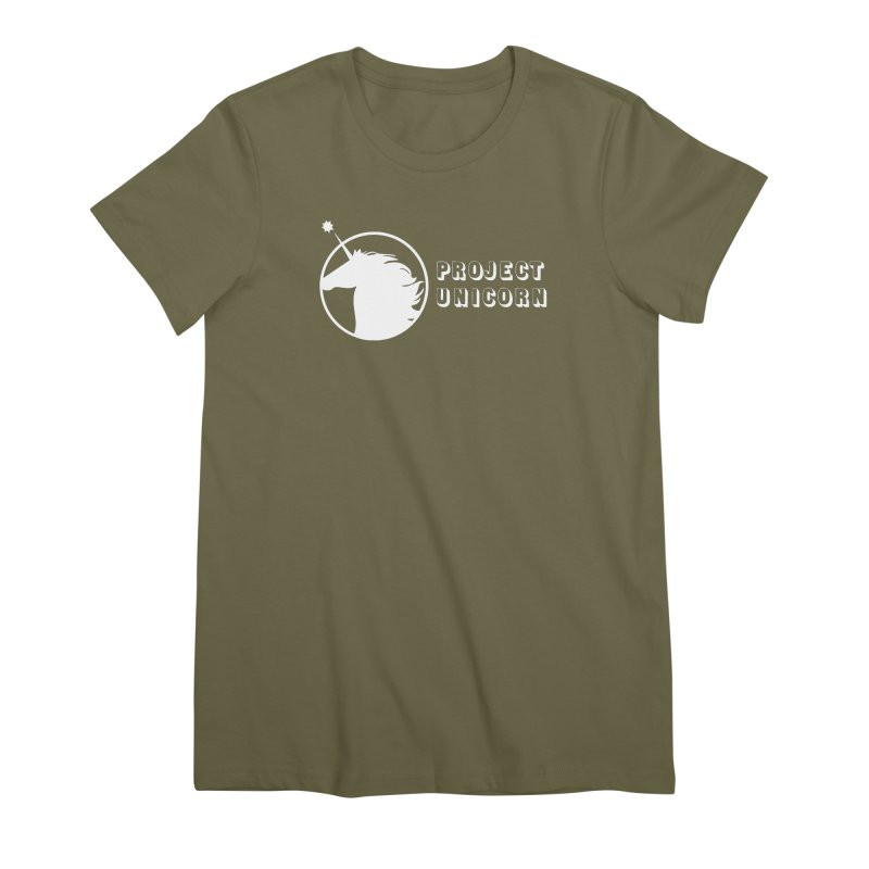 Project Unicorn Logo with text white Women's Premium T-Shirt by bornjustright's Artist Shop