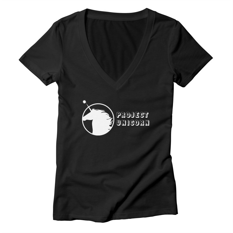Project Unicorn Logo with text white Women's Deep V-Neck V-Neck by bornjustright's Artist Shop