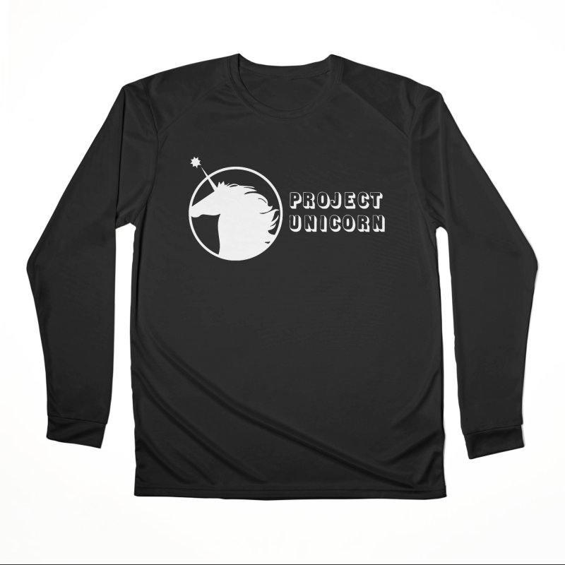 Project Unicorn Logo with text white Women's Performance Unisex Longsleeve T-Shirt by bornjustright's Artist Shop