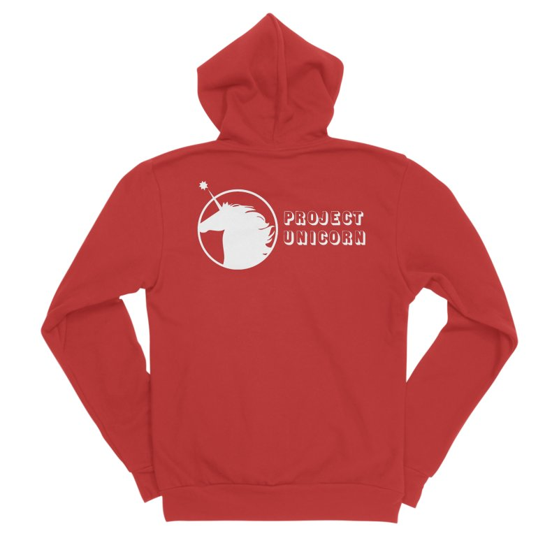 Project Unicorn Logo with text white Women's Zip-Up Hoody by bornjustright's Artist Shop