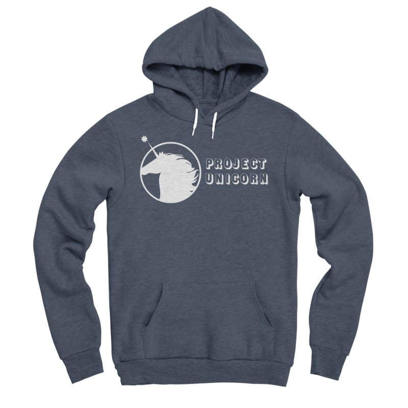 Project Unicorn Logo with text white Men's Sponge Fleece Pullover Hoody by bornjustright's Artist Shop