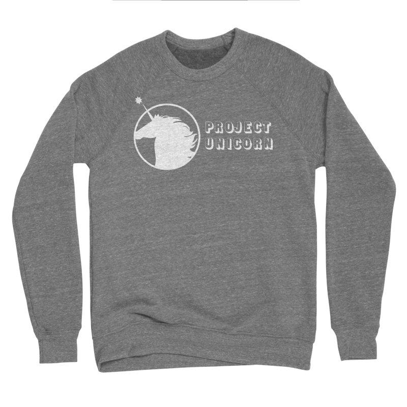 Project Unicorn Logo with text white Women's Sponge Fleece Sweatshirt by bornjustright's Artist Shop