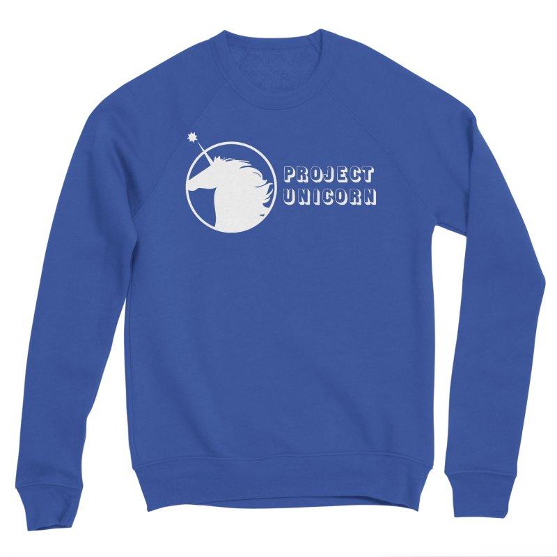 Project Unicorn Logo with text white Men's Sponge Fleece Sweatshirt by bornjustright's Artist Shop