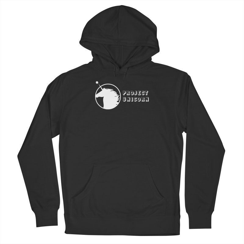 Project Unicorn Logo with text white Women's French Terry Pullover Hoody by bornjustright's Artist Shop