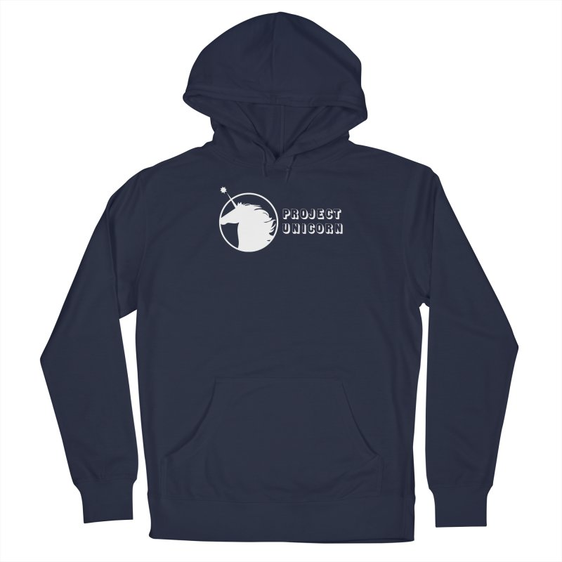 Project Unicorn Logo with text white Men's Pullover Hoody by bornjustright's Artist Shop