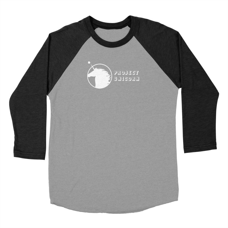 Project Unicorn Logo with text white Men's Baseball Triblend Longsleeve T-Shirt by bornjustright's Artist Shop