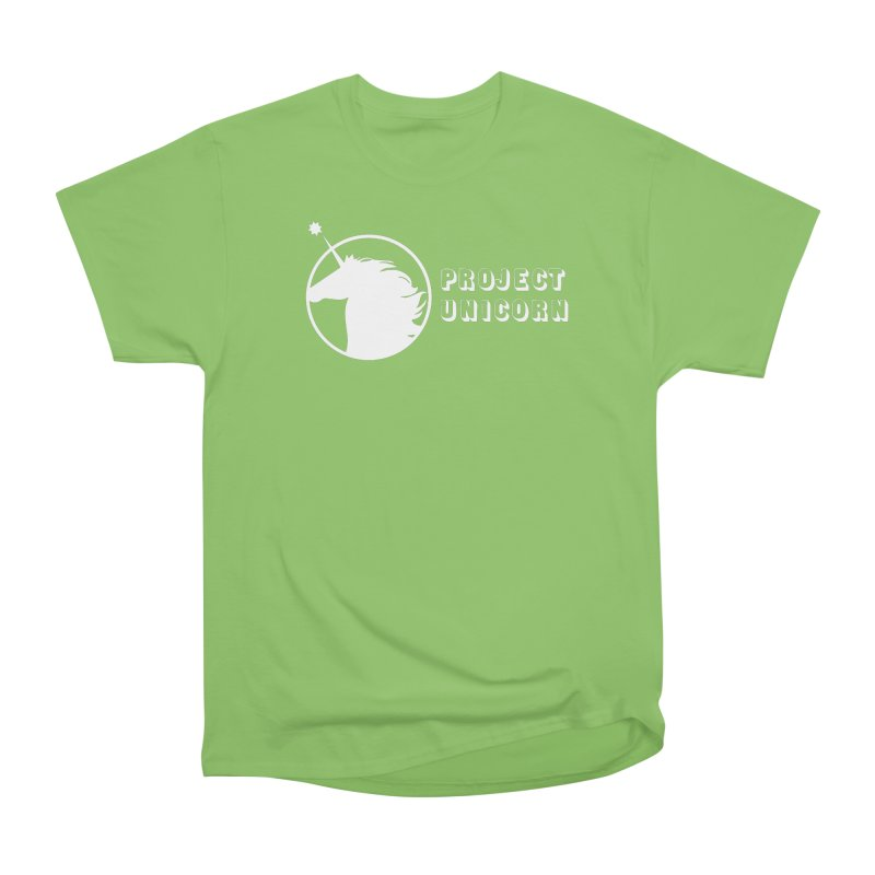 Project Unicorn Logo with text white Women's Heavyweight Unisex T-Shirt by bornjustright's Artist Shop