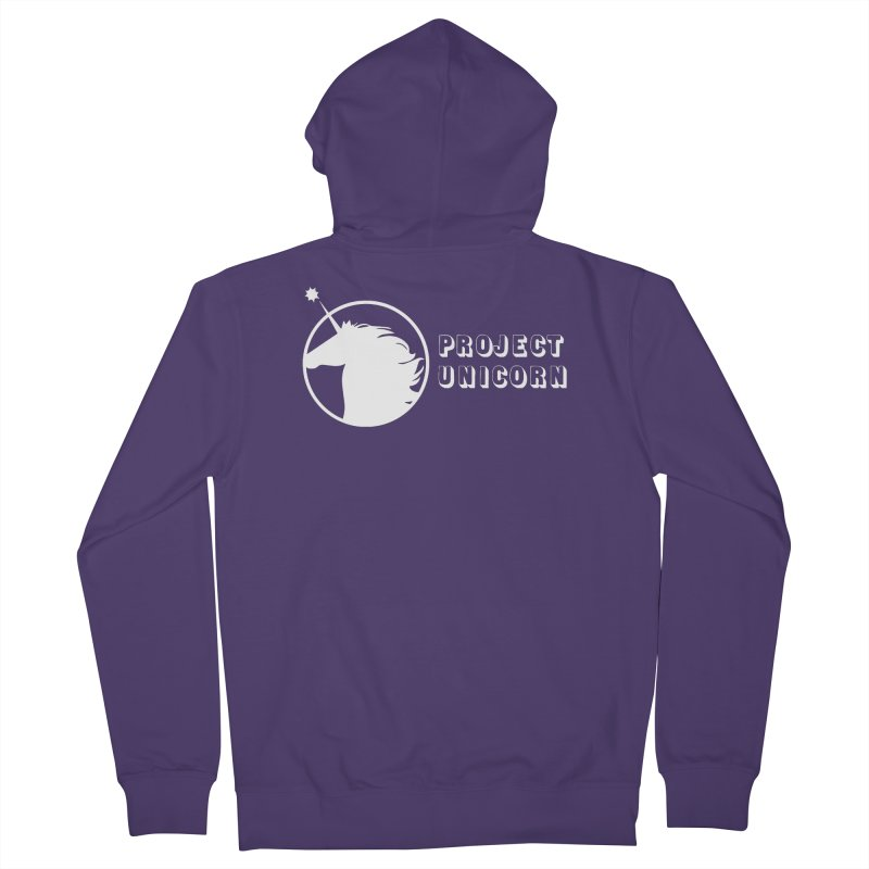 Project Unicorn Logo with text white Women's French Terry Zip-Up Hoody by bornjustright's Artist Shop