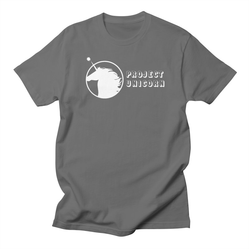 Project Unicorn Logo with text white Women's Regular Unisex T-Shirt by bornjustright's Artist Shop