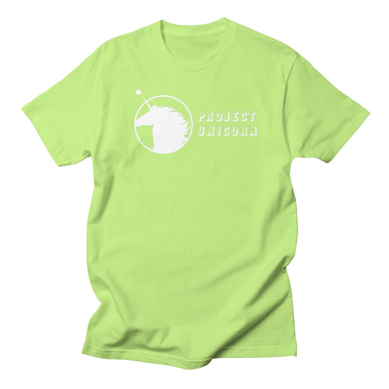 Project Unicorn Logo with text white Men's Regular T-Shirt by bornjustright's Artist Shop