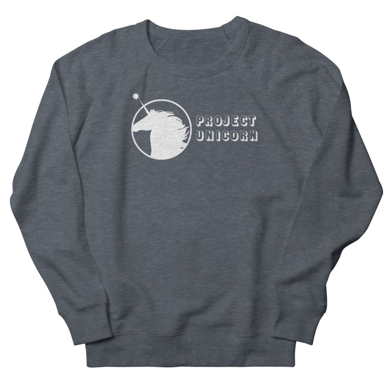 Project Unicorn Logo with text white Men's French Terry Sweatshirt by bornjustright's Artist Shop
