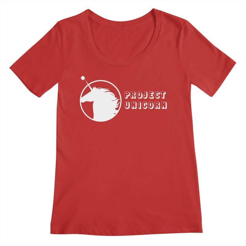 Project Unicorn Logo with text white Women's Regular Scoop Neck by bornjustright's Artist Shop