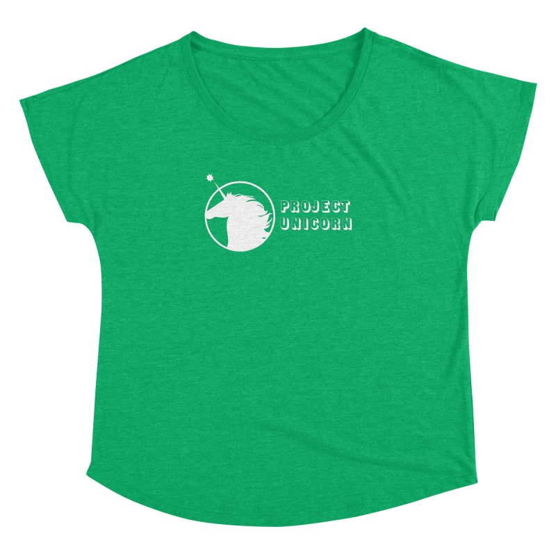 Project Unicorn Logo with text white Women's Dolman Scoop Neck by bornjustright's Artist Shop