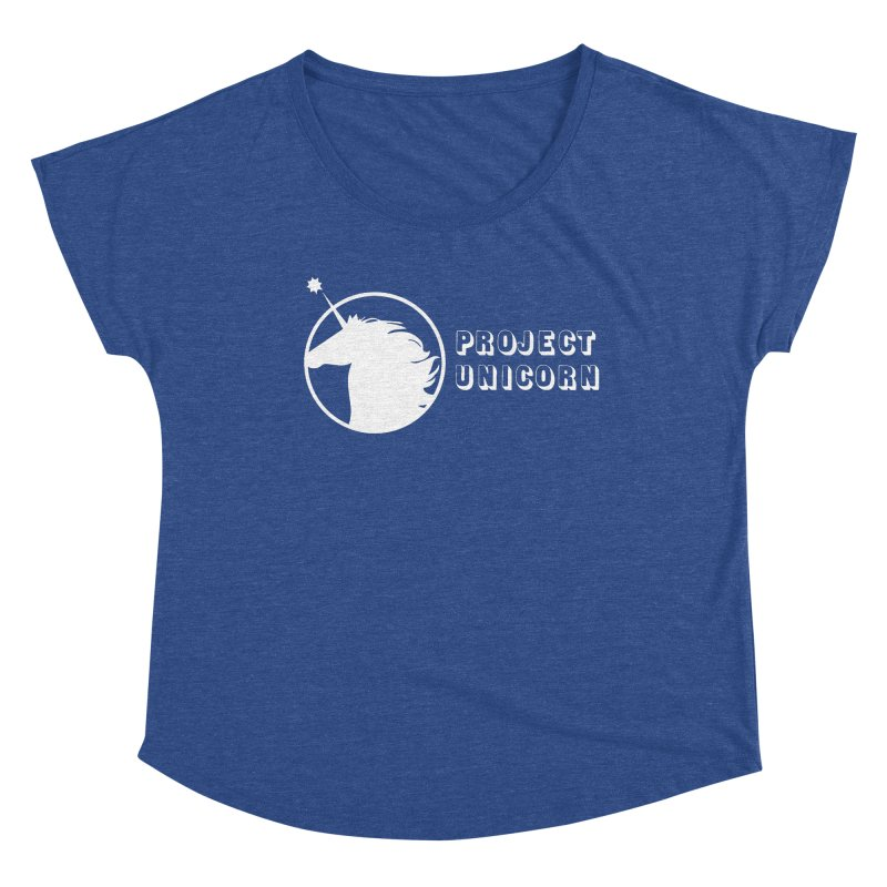 Project Unicorn Logo with text white Women's Scoop Neck by bornjustright's Artist Shop