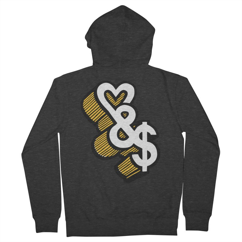 love & money Men's Zip-Up Hoody by bortwein's Artist Shop