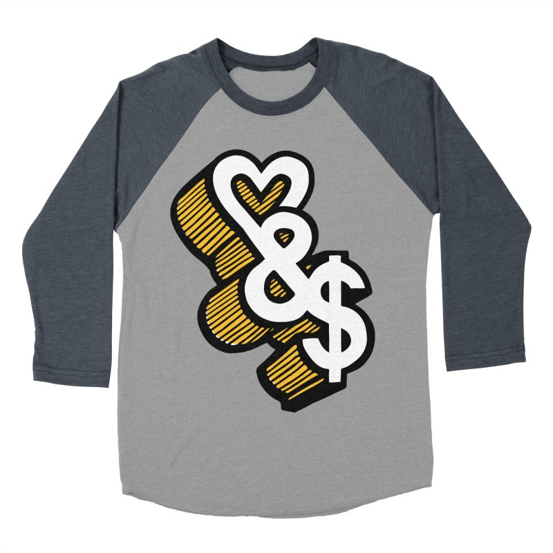 love & money Men's Baseball Triblend T-Shirt by bortwein's Artist Shop