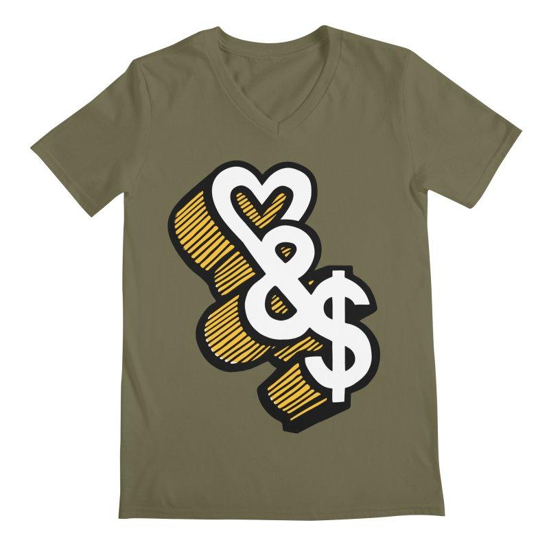love & money Men's V-Neck by bortwein's Artist Shop